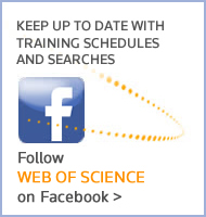 Keep up-to-date with training schedule and searches. Follow the Web of Knowledge on Facebook.
