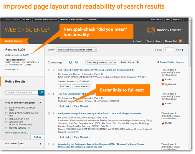 Improved page layout and readability of search results